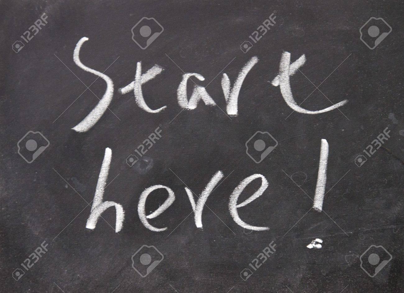 start here title written with chalk no blackboard - 16608713