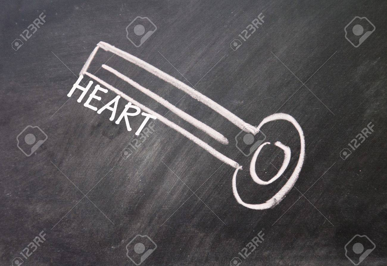 abstract heart key drawn with chalk on blackboard Stock Photo - 16613308