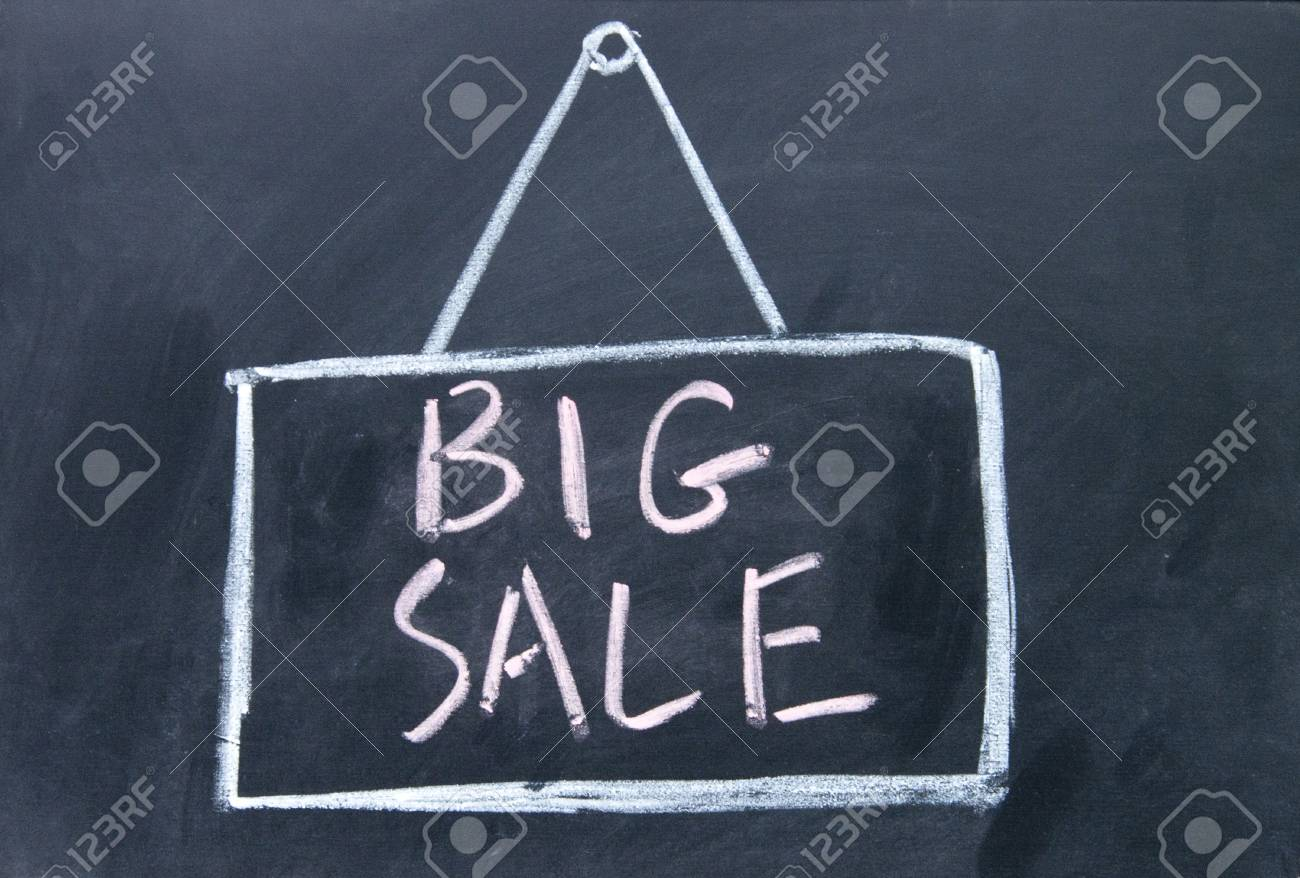 big sale board drawn with chalk on blackboard Stock Photo - 16654873