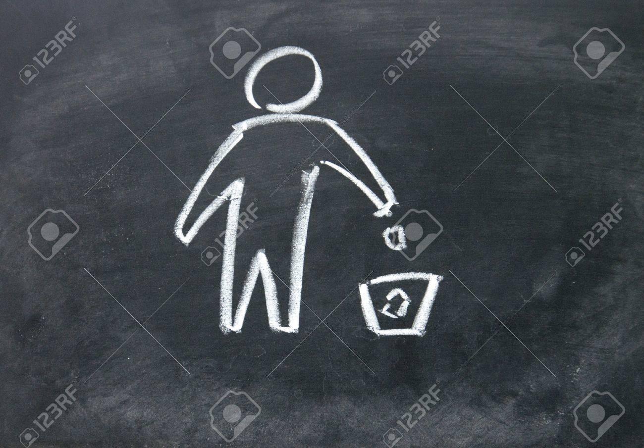Recycling symbol drawn with chalk on blackboard Stock Photo - 17750757