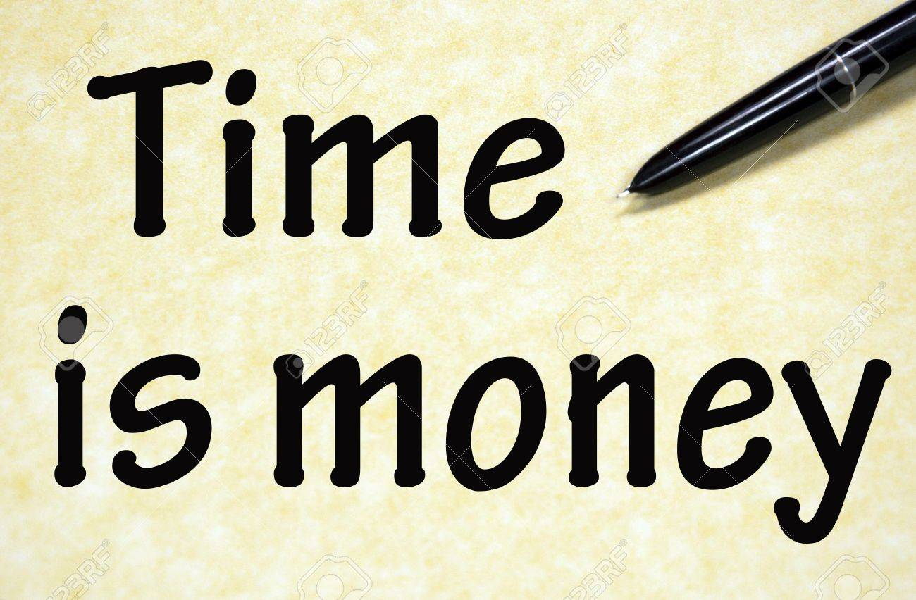 time is money title written with pen on paper Stock Photo - 18815383