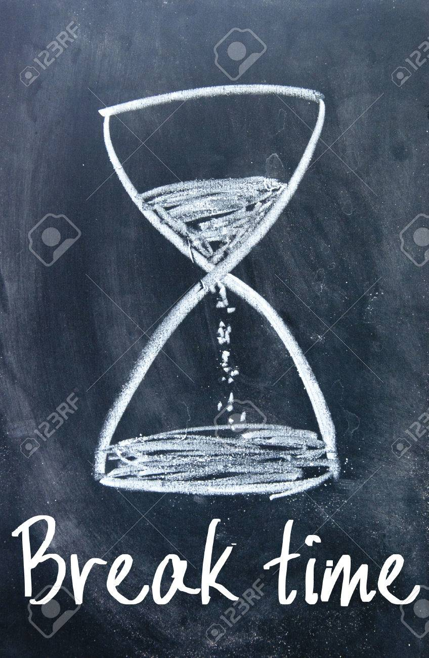 Break Time Sign On Blackboard Stock Photo