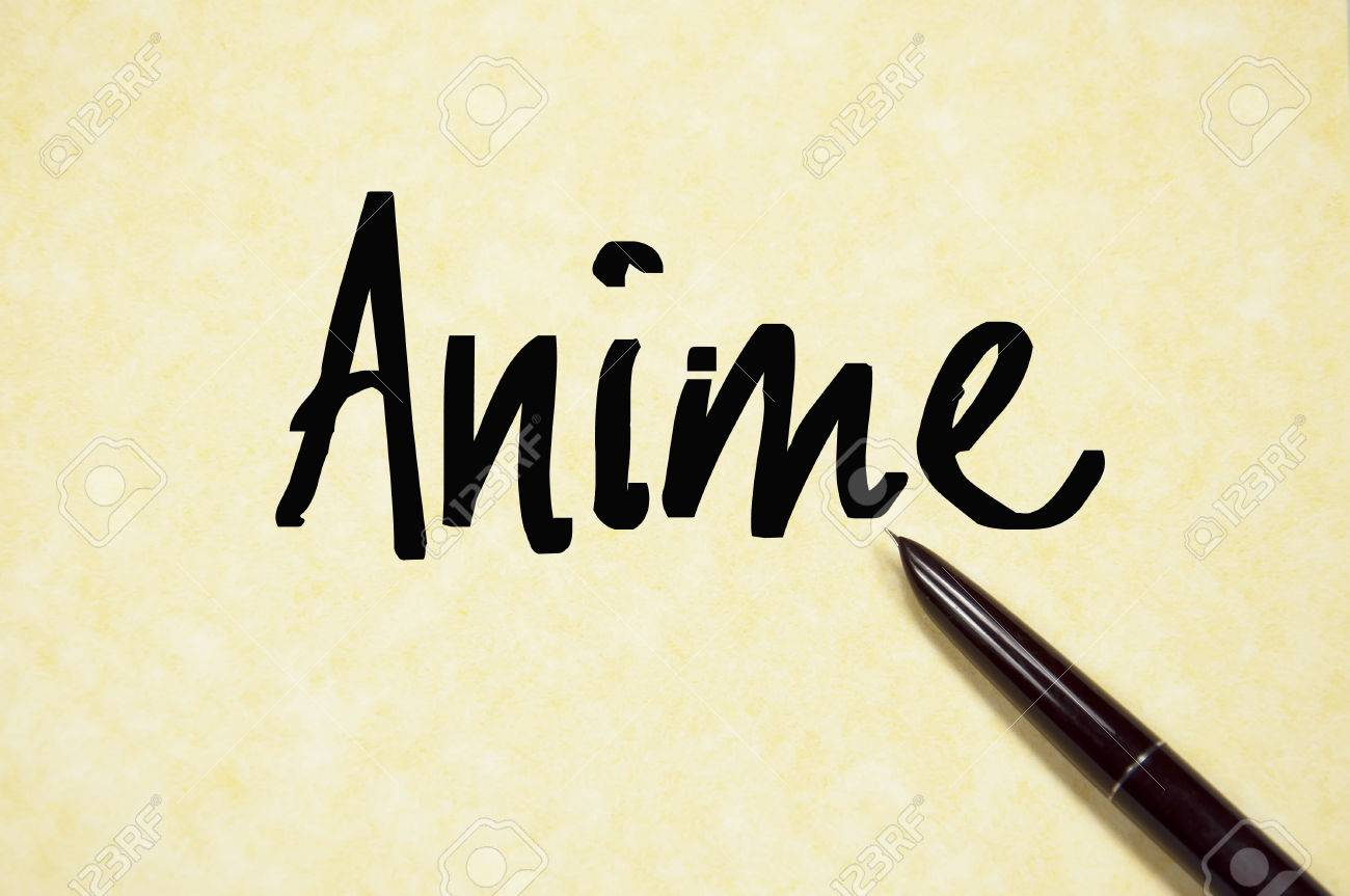 anime word write on paper stock photo picture and royalty free