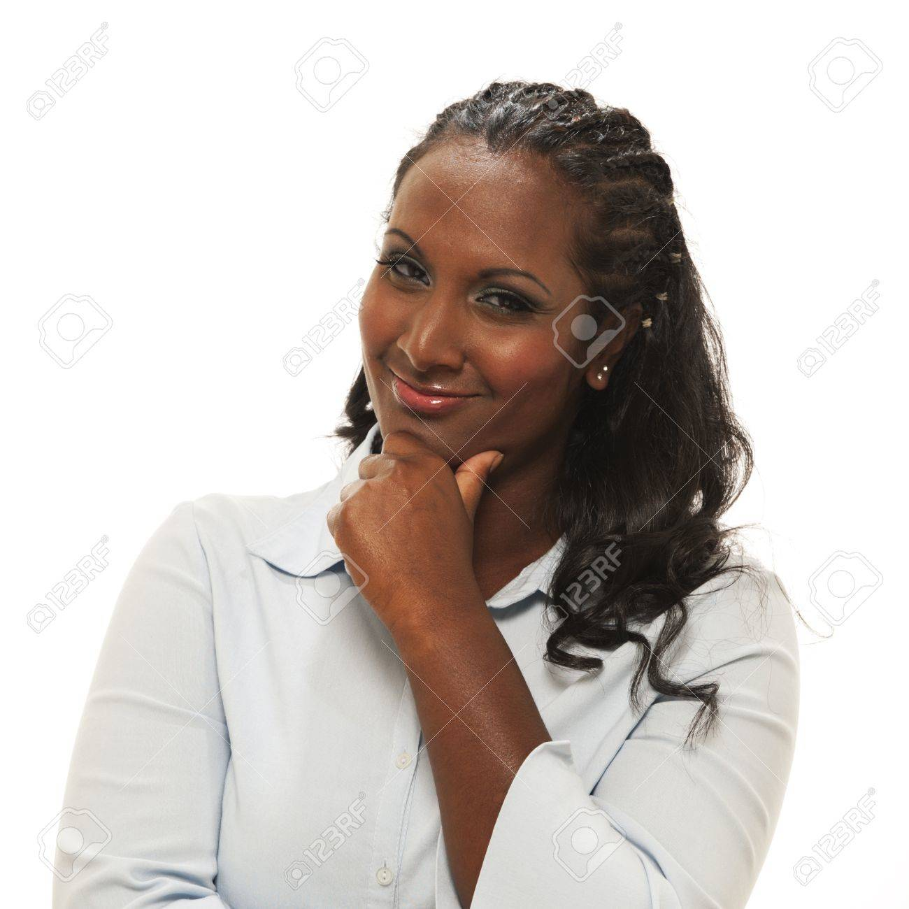 Woman thinking whith chin resting in hand Stock Photo - 10830991