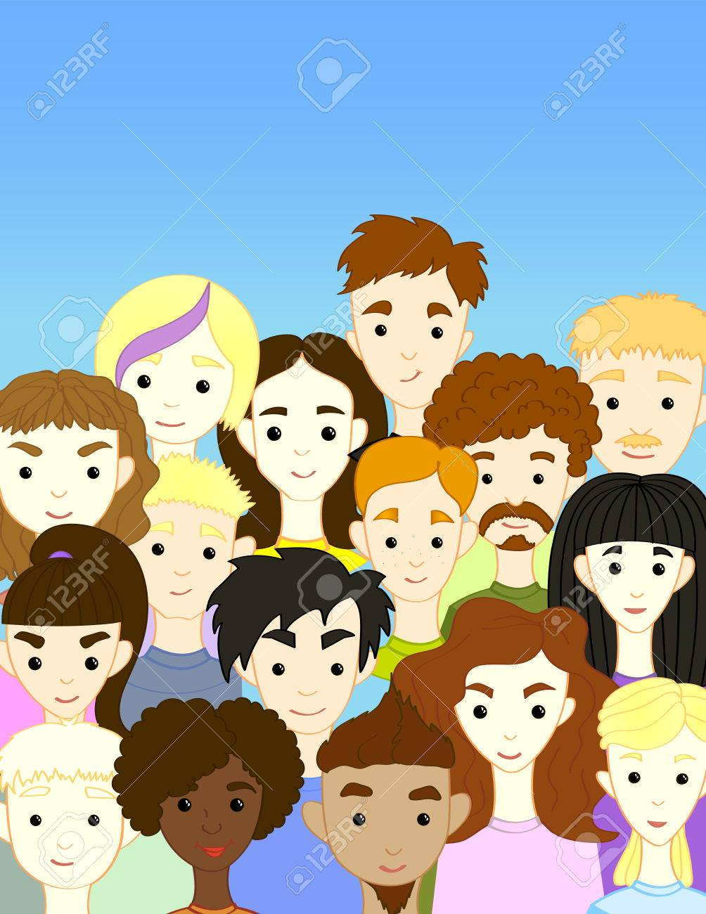 The Crowd Of International Different People Cartoon Characters
