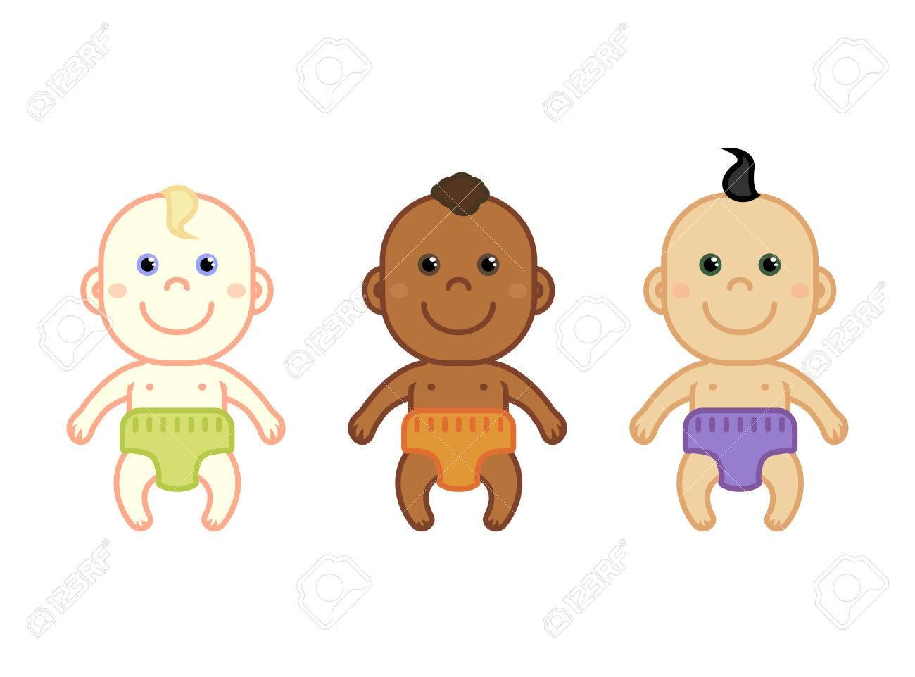 Vettoriale serie di cartoni animati multinazionali neonati