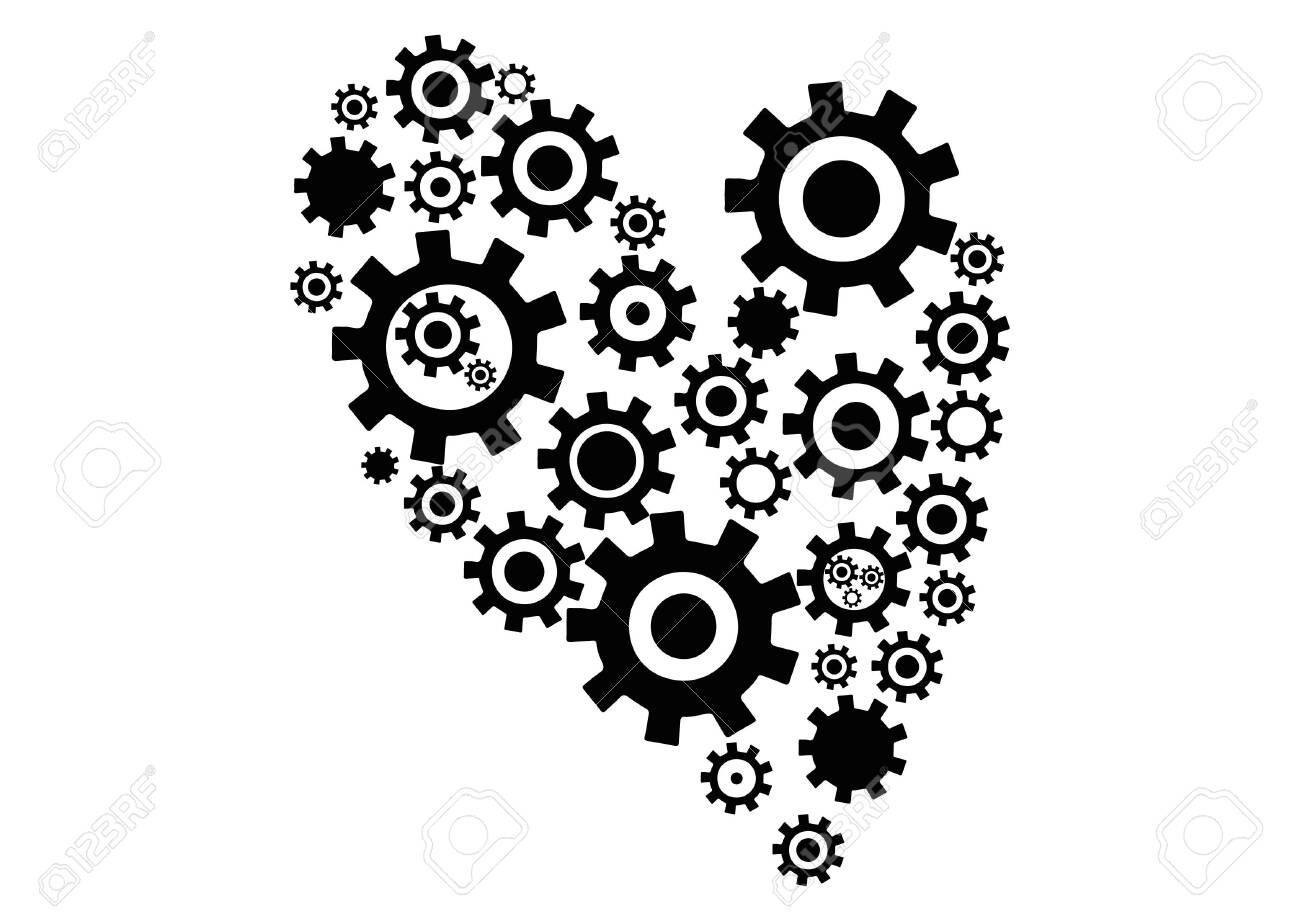 Mechanical beating heart with gears. Icon. - 147491813