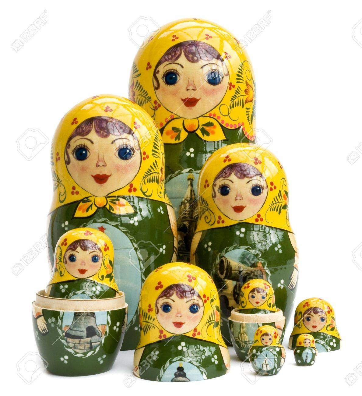 of Russian nested dolls isolated on white Stock Photo - 3070153