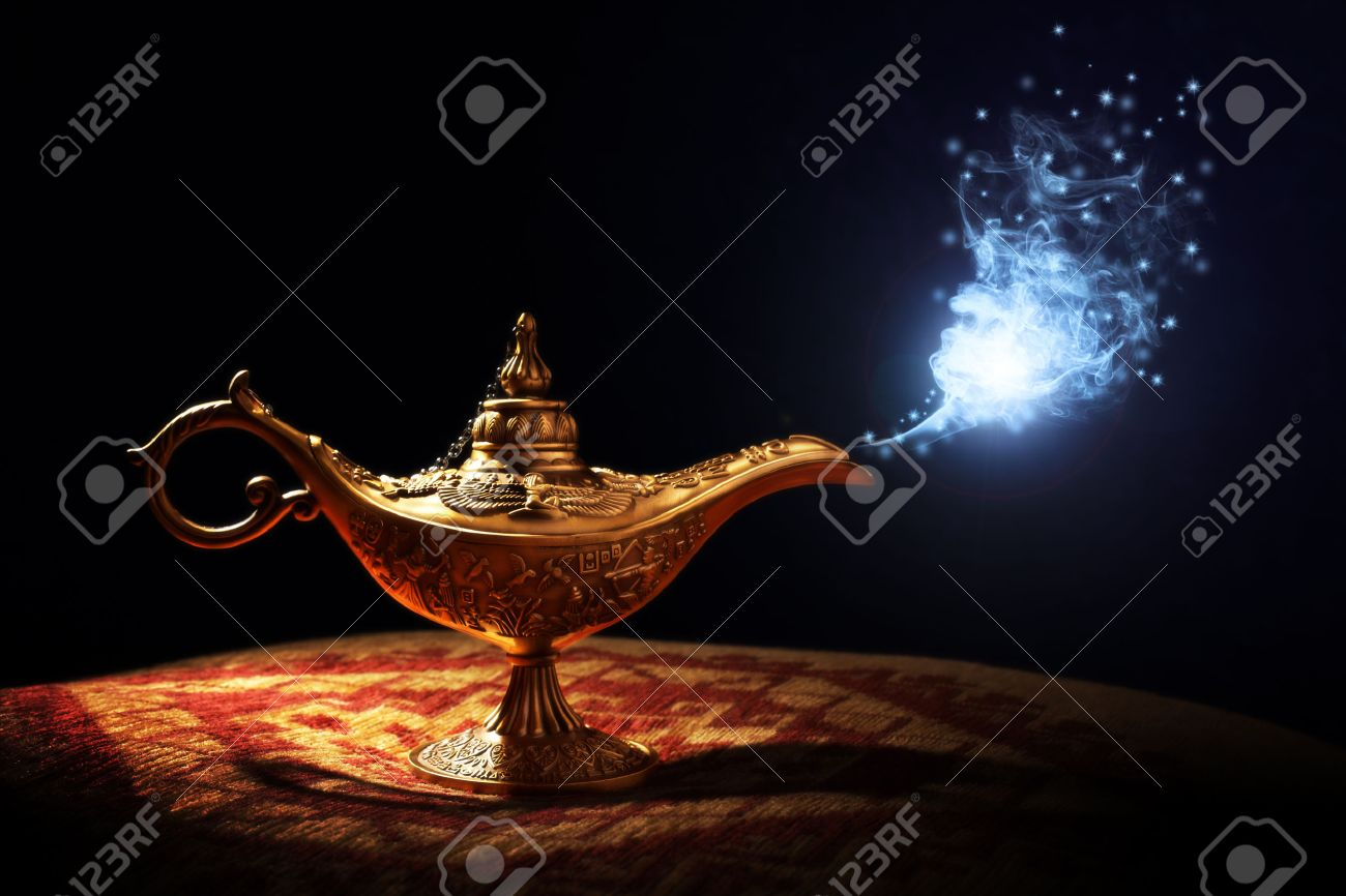Magic Lamp From The Story Of Aladdin With Genie Appearing In ... for Magic Lamp With Smoke  61obs