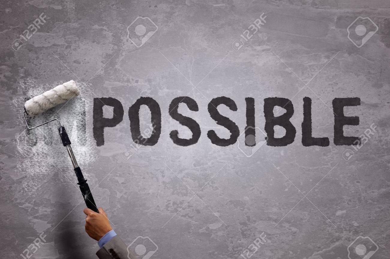 changer le mot impossible possible par la peinture sur et effaçant ... - Comment Changer Un Rouleau De Peinture