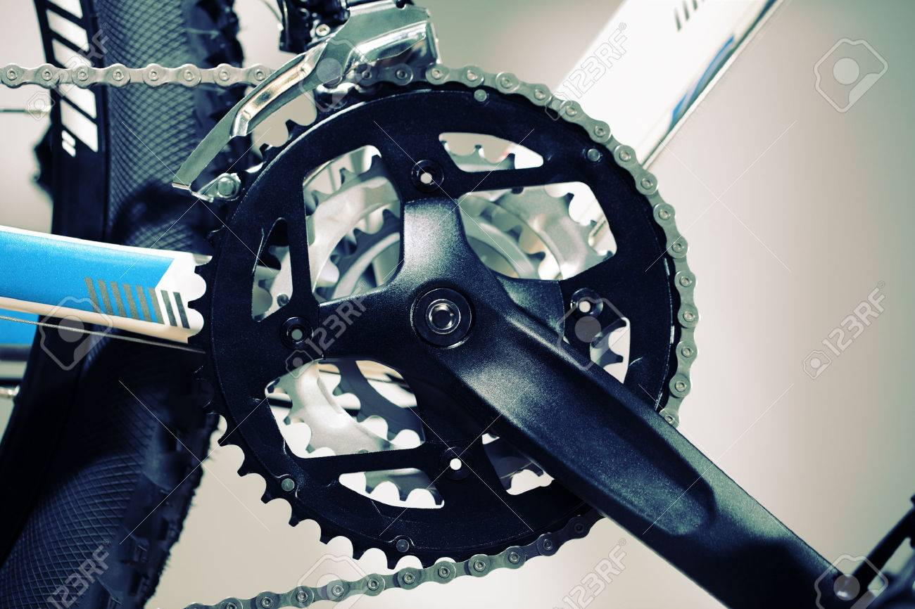 Mountain Bike Chain Set Pedal And Wheel Stock Photo Picture And