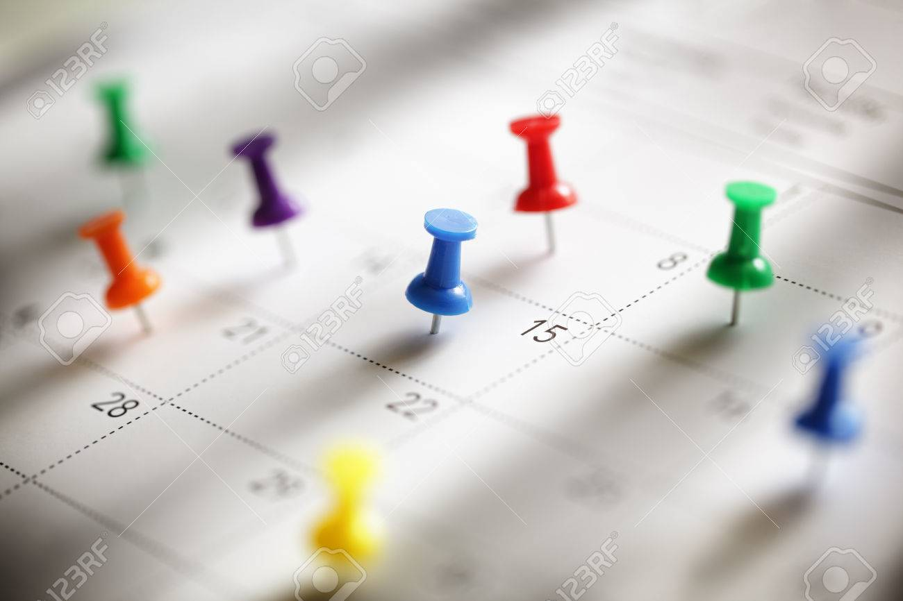 Thumbtack In Calendar Concept For Busy, Appointment And Meeting ...