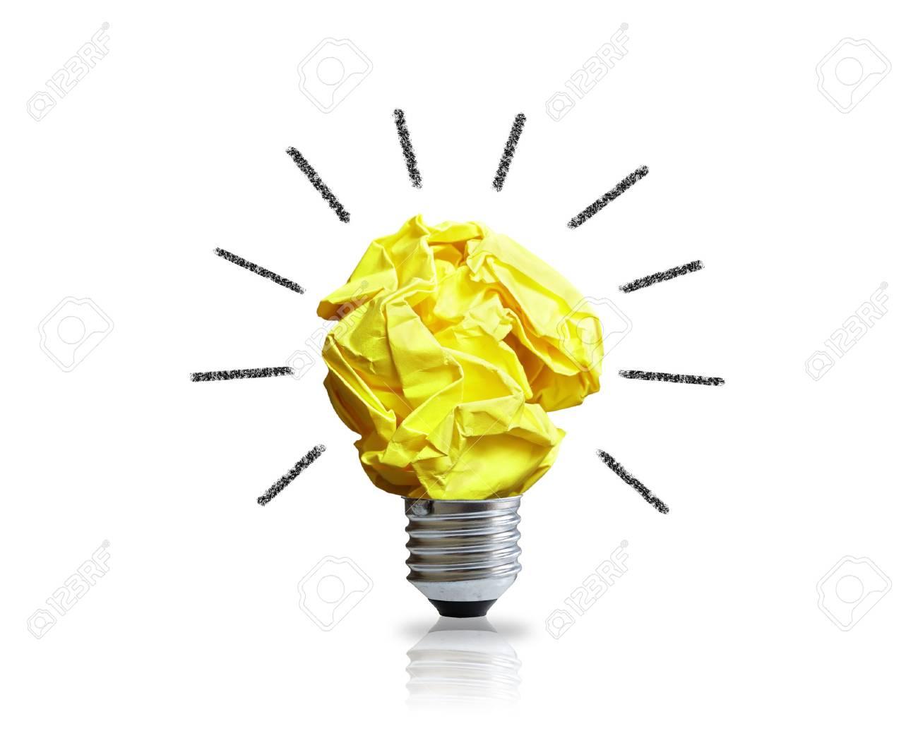 Inspiration Konzept Zerknittertes Papier Gl Hbirne Metapher F R Gute