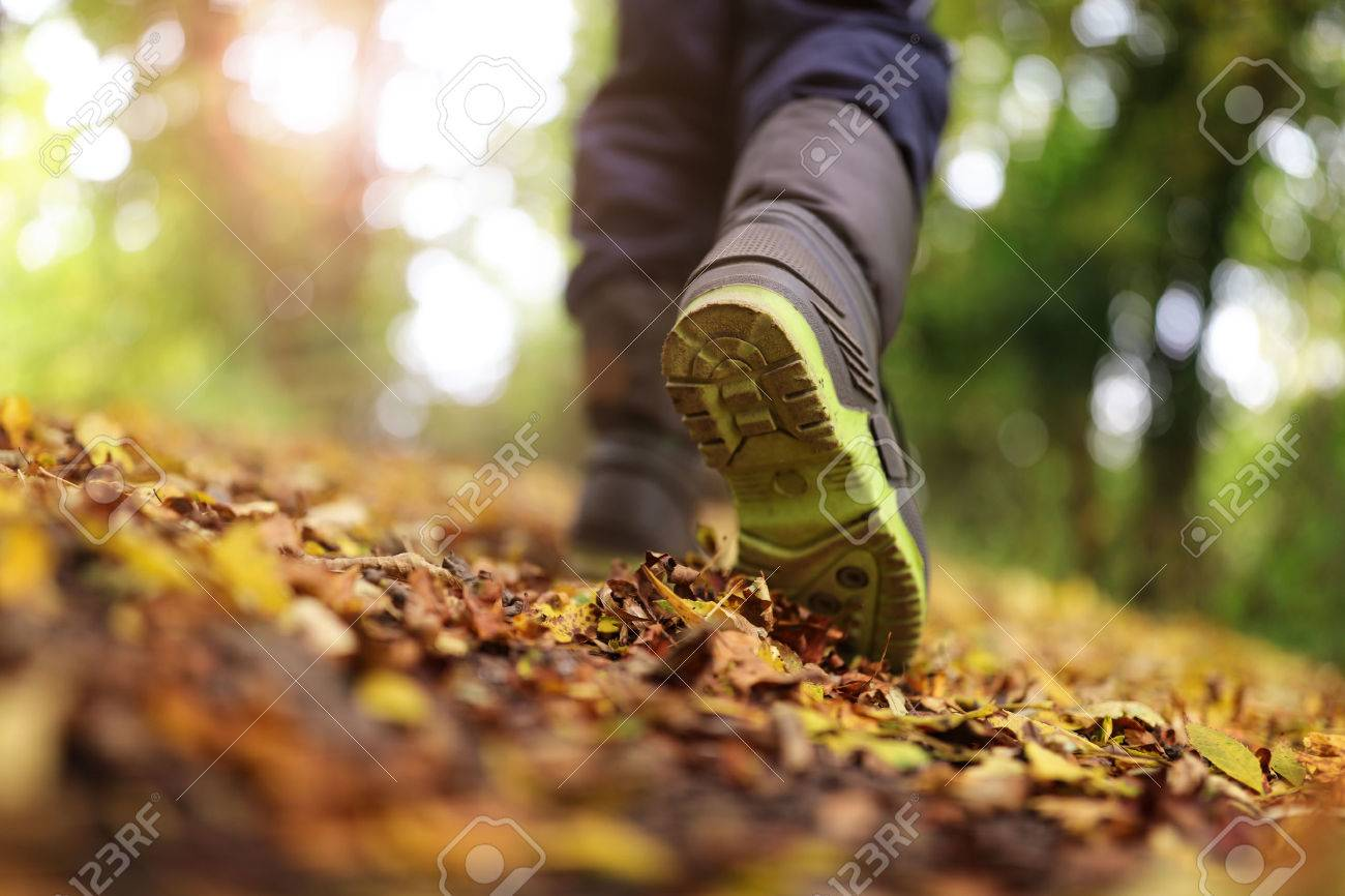Boy walking on footpath in autumn or winter concept for healthy lifestyle Standard-Bild - 48355399