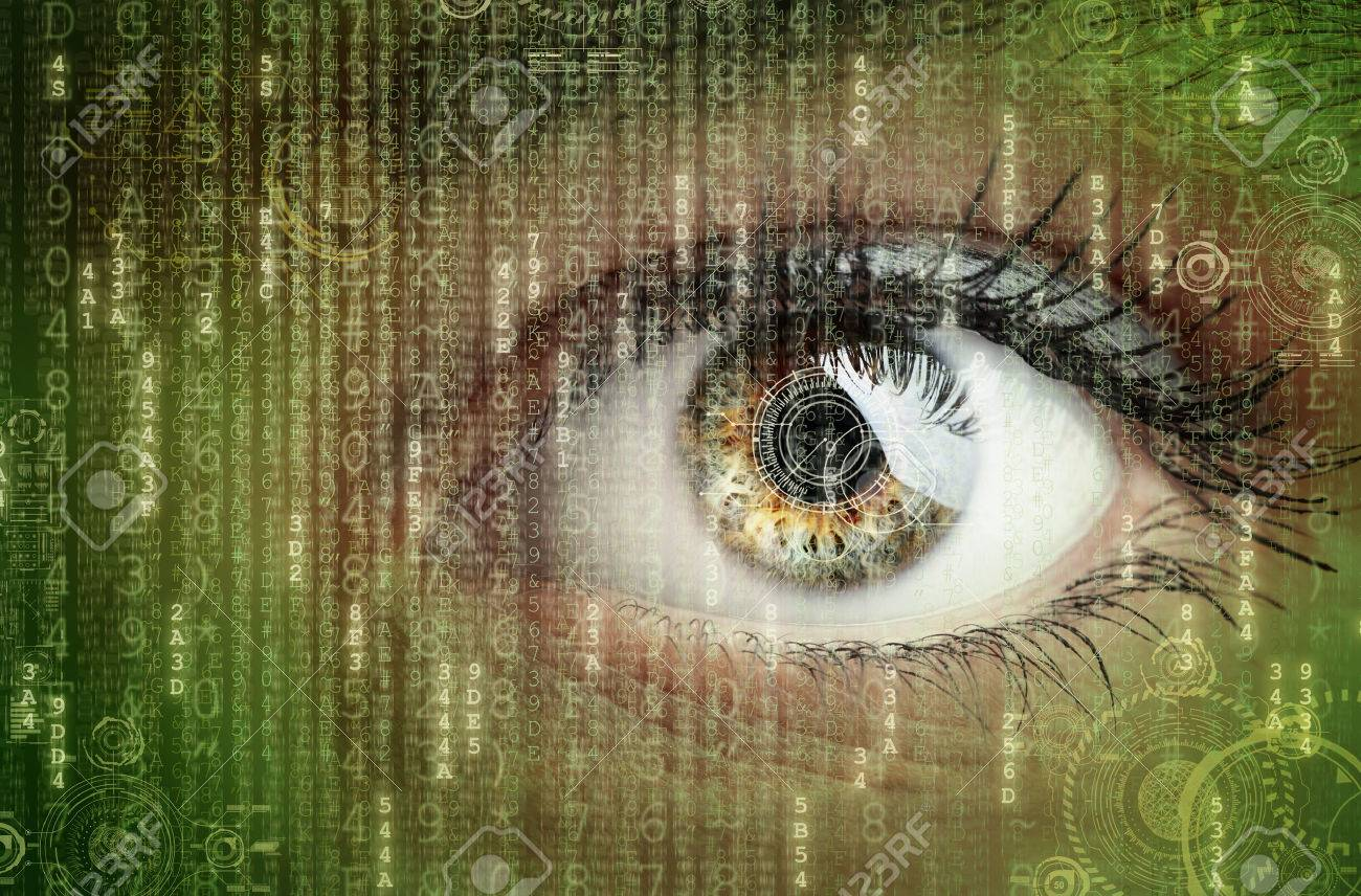 Womans eye with futuristic digital data concept for technology, virtual reality headset, biometric retina scan, surveillance or computer hacker security Standard-Bild - 54427904