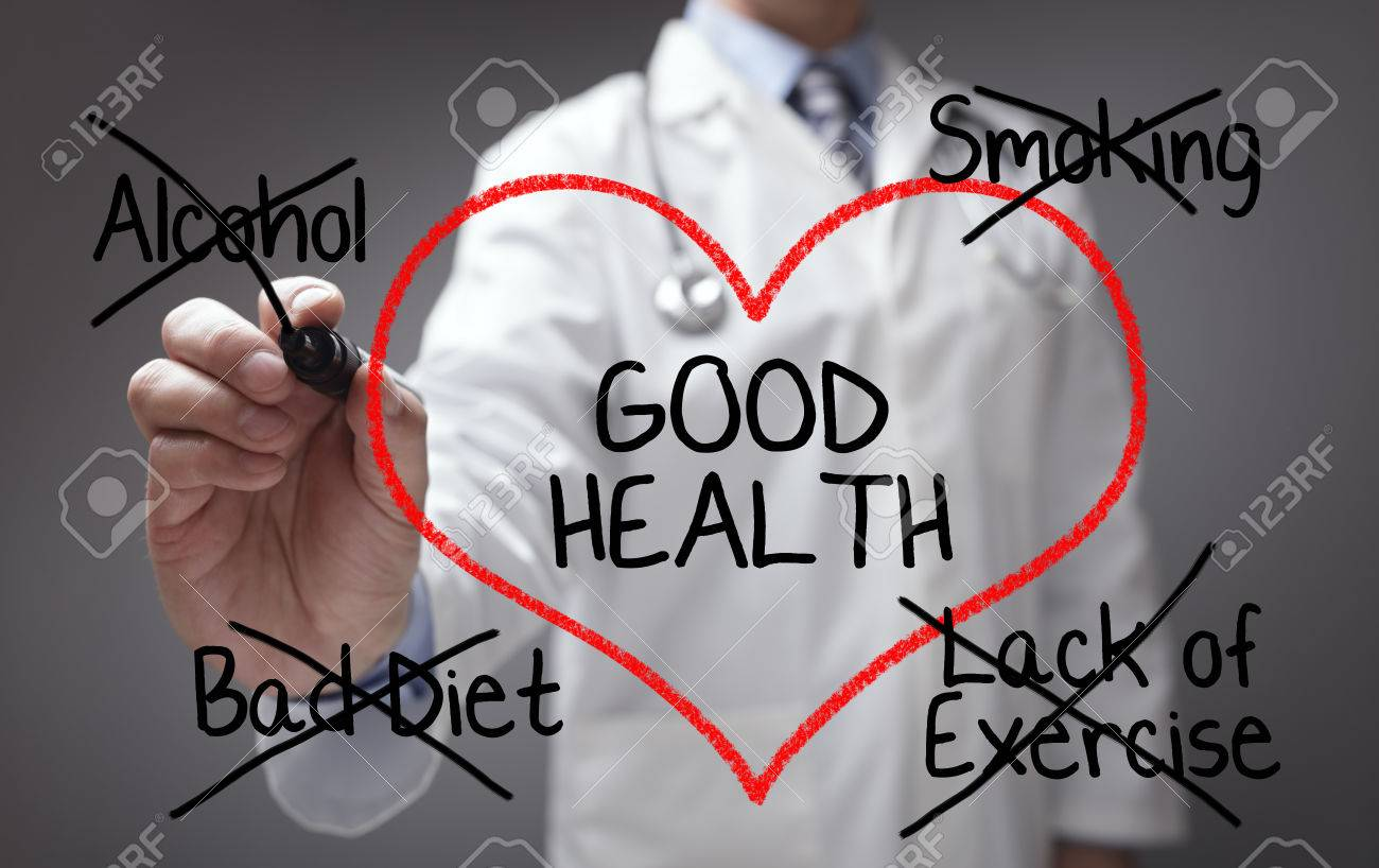 Doctor giving good health advice on diet, smoking, alcohol and exercise - 54427914