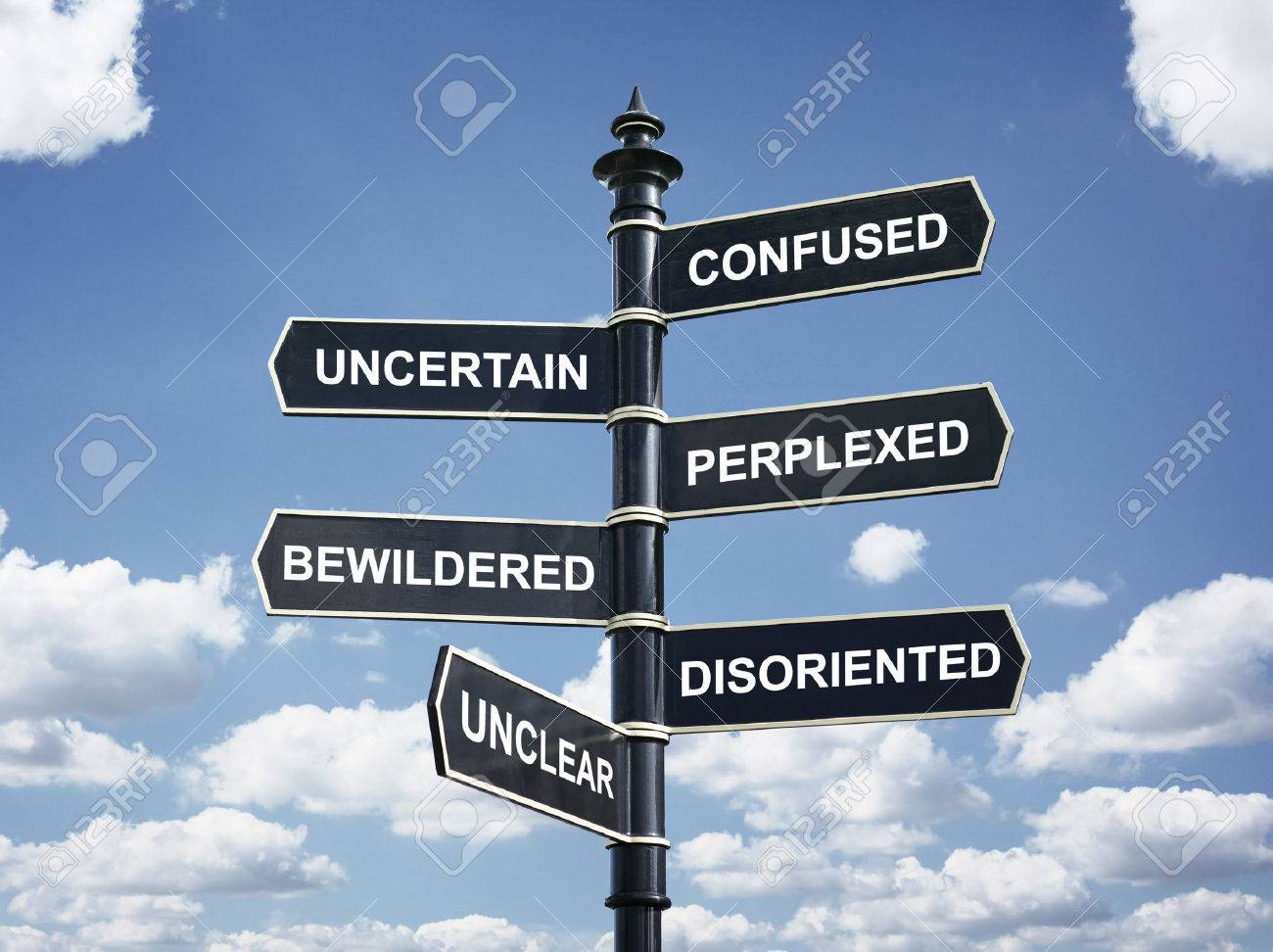 Crossroad signpost saying confused, uncertain, perplexed, bewildered, disoriented, unclear concept for lost, confusion or decisions Standard-Bild - 54428169
