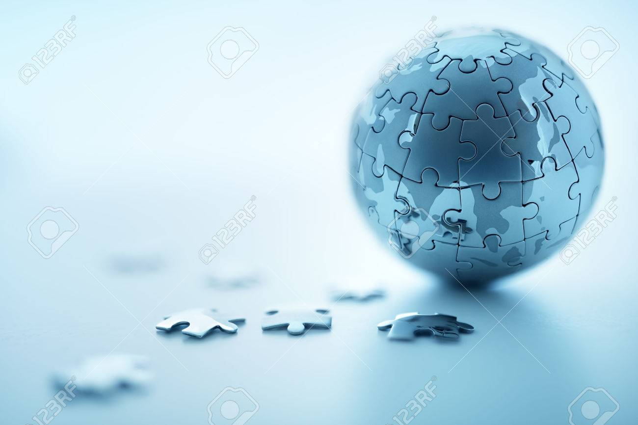 Global strategy solution concept - earth jigsaw puzzle - 59291481