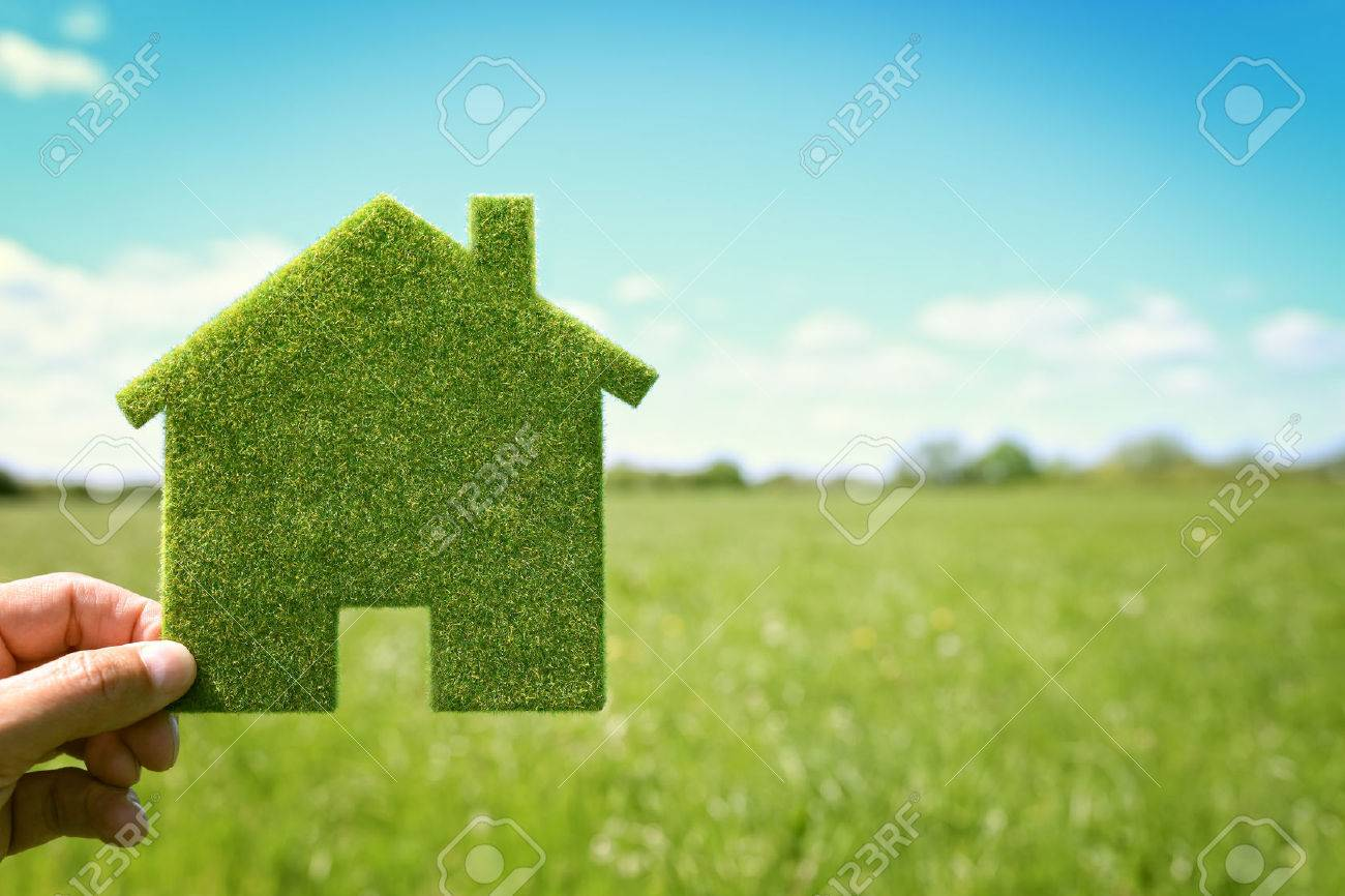Green eco house environmental background in field for future residential building plot - 61386069