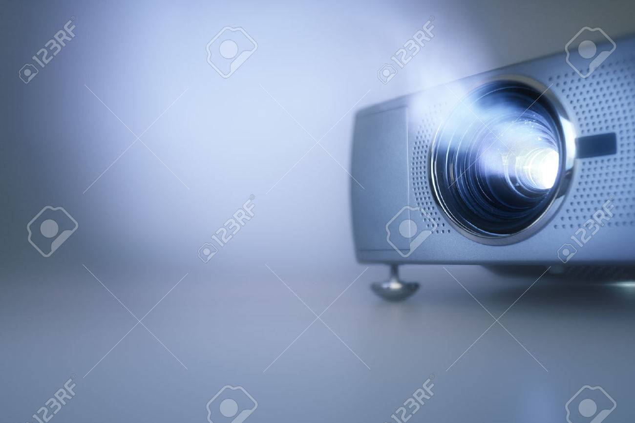 LCD video projector at business conference or lecture with copy space Standard-Bild - 61386070