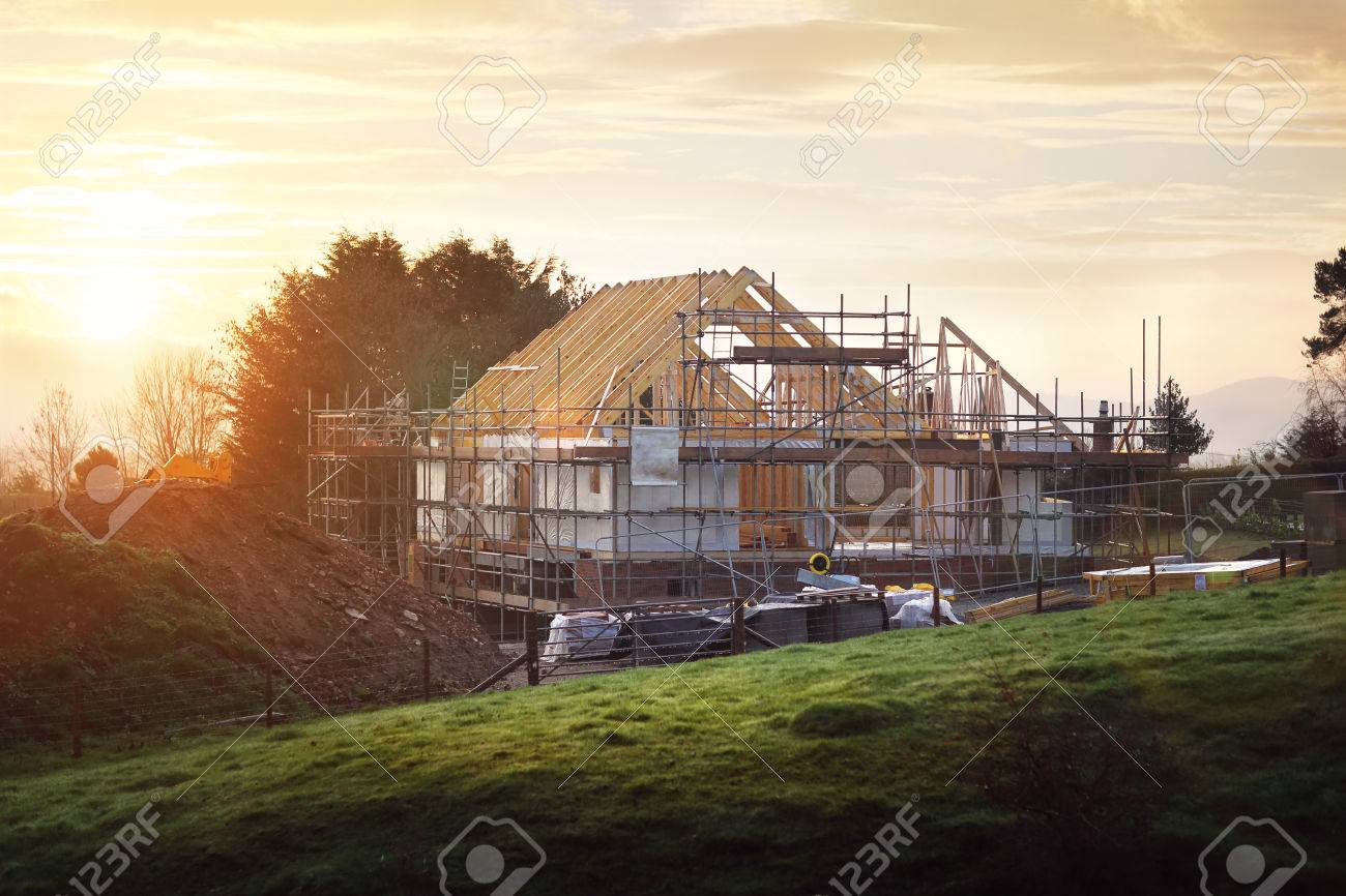 Home under construction on a building site Standard-Bild - 74726603