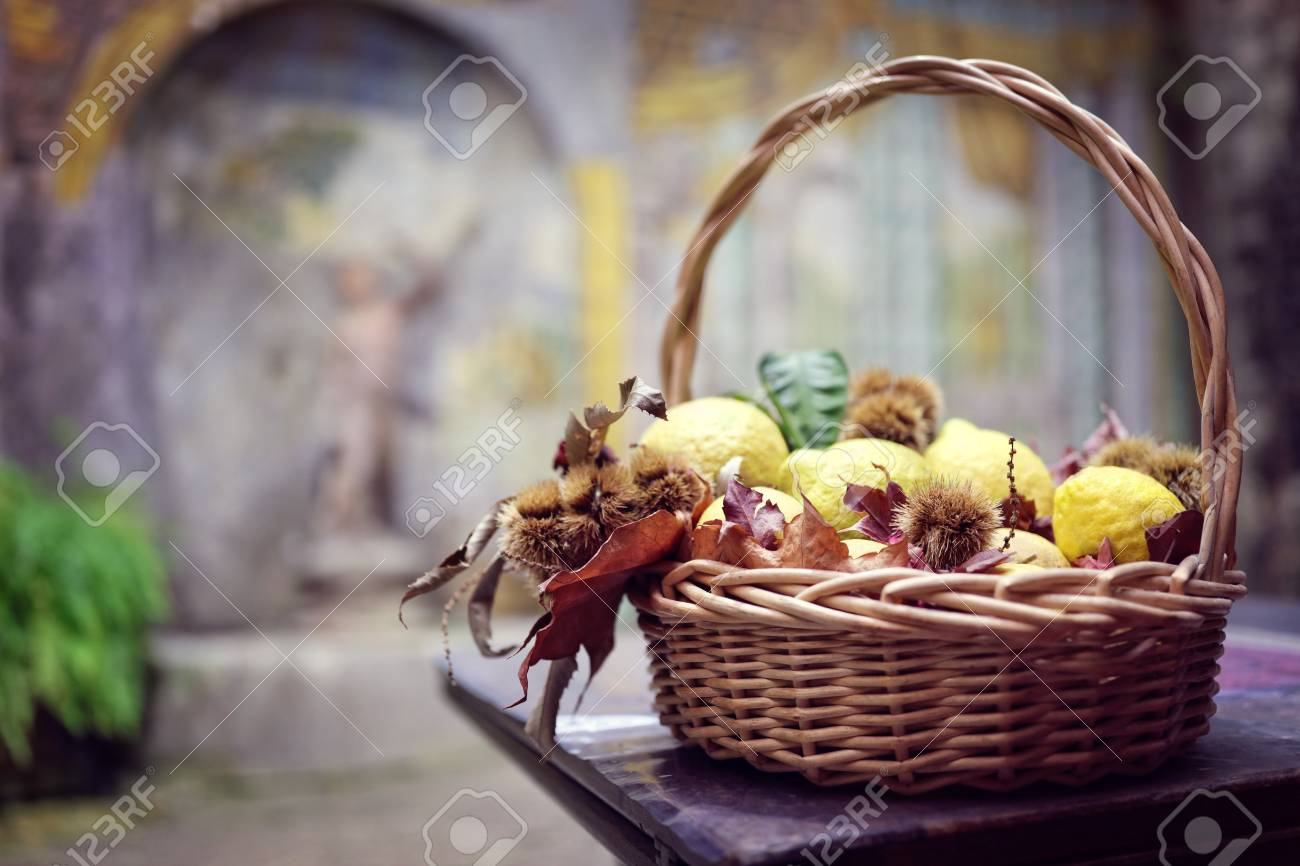 Lemons Wicker Basket Table Decoration In Italian Restaurant Stock Photo Picture And Royalty Free Image Image 93011521