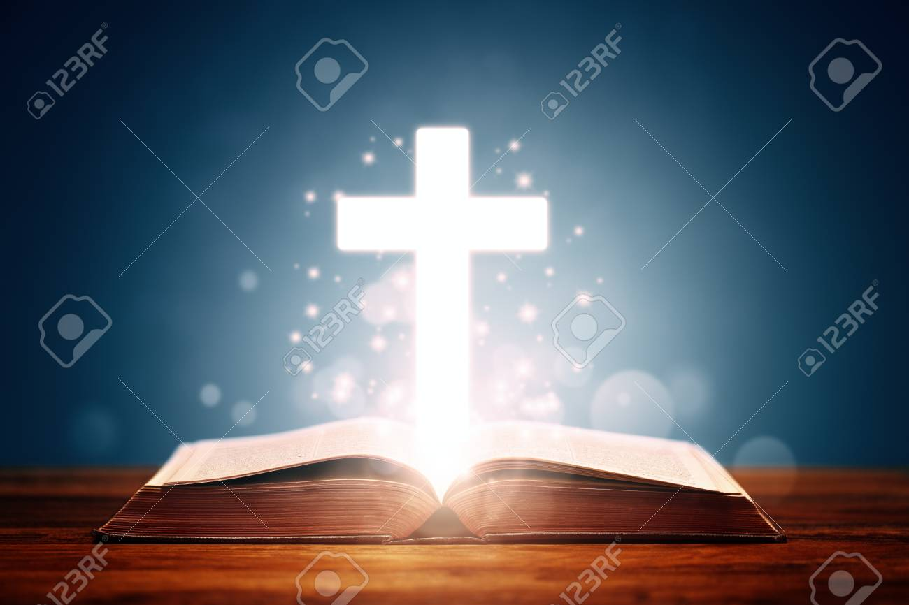 Holy bible with cross background concept for prayer and religion - 92880781