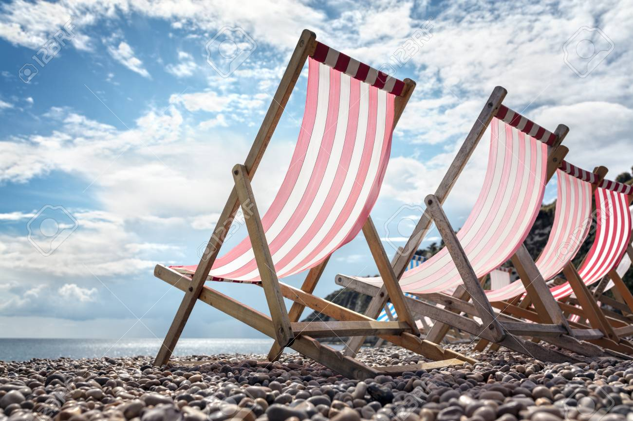 Deck Chairs On The Beach At The Seaside On Summer Vacation Stock Photo Picture And Royalty Free Image Image 114514204