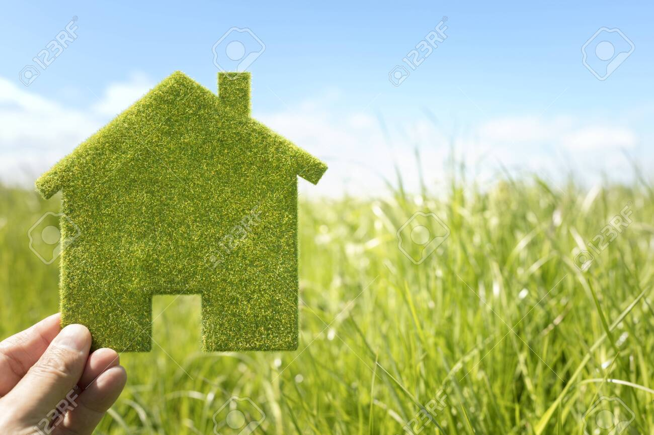Green eco house environmental background in grass field for future residential building plot - 131759951