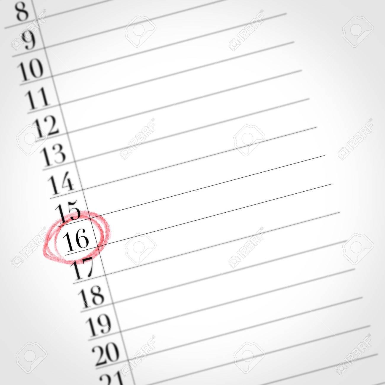 Calendario Particolare.Il Calendario Con Texture Vecchia Mostra Il 16 Giorno Del Mese Particolare Di Un Giorno Contrassegnato Con Un Cerchio Rosso