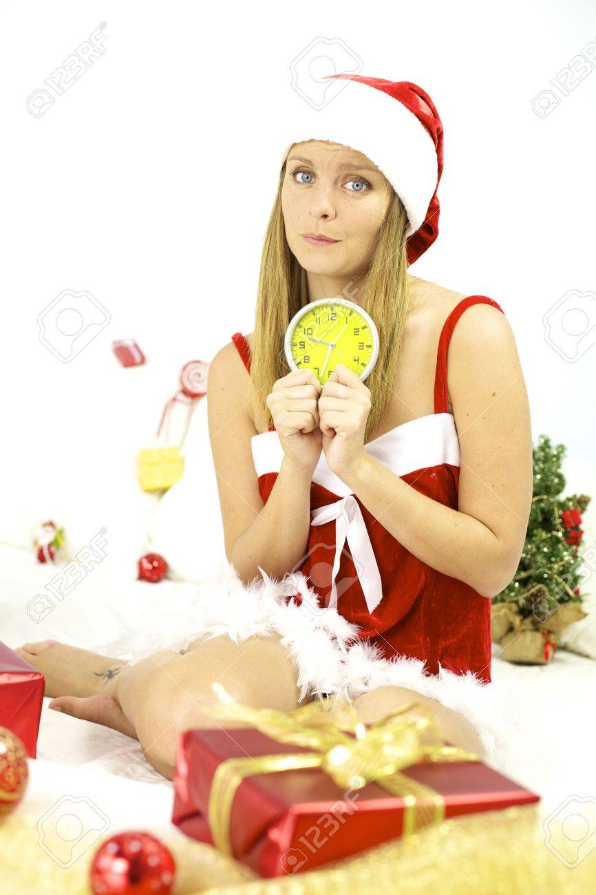 Sad Santa Claus With Alarm Clock Not Ready For Christmas Night Stock ...
