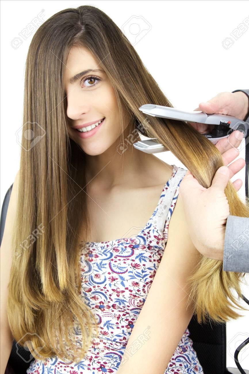 Schöne Frau Mit Sehr Langen Haaren Immer Frisur Lizenzfreie Fotos