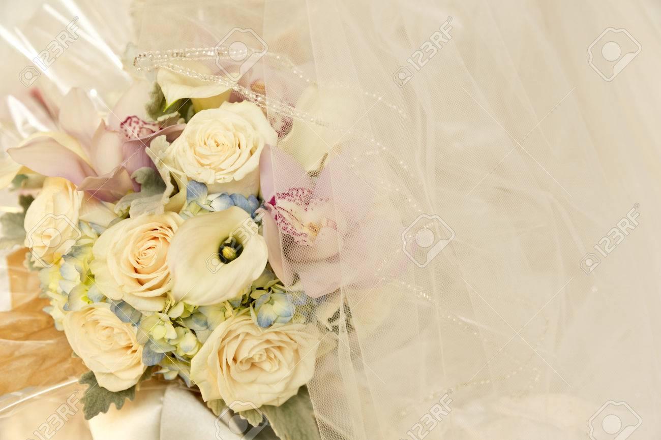 Hochzeit Blumen In Tonen Von Elfenbein Rosa Und Blau Mit