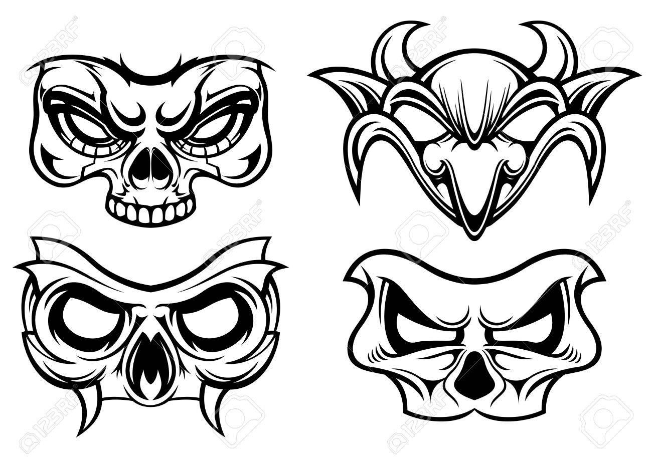 Illustraion Of Black White Various Of Carnival Mask Stock Vector   27425787