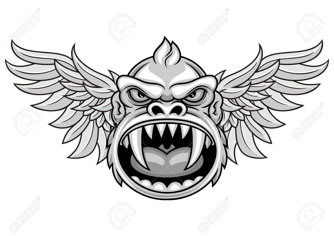 illustration of monkey head and wings royalty free cliparts