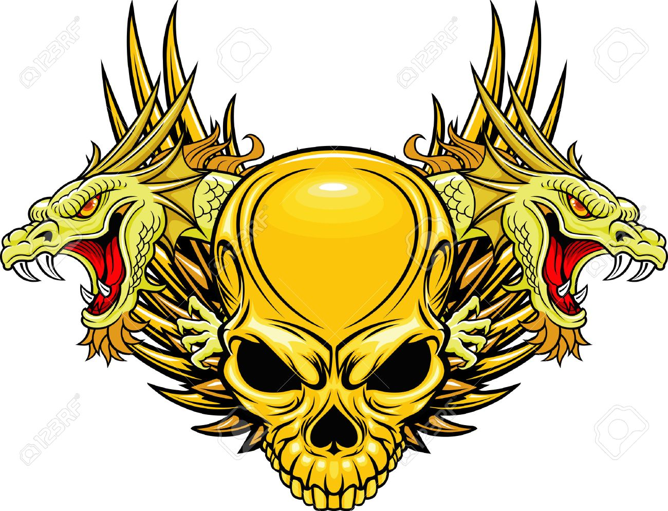 Skull With Double Dragon Head Royalty Free Cliparts, Vectors, And ...