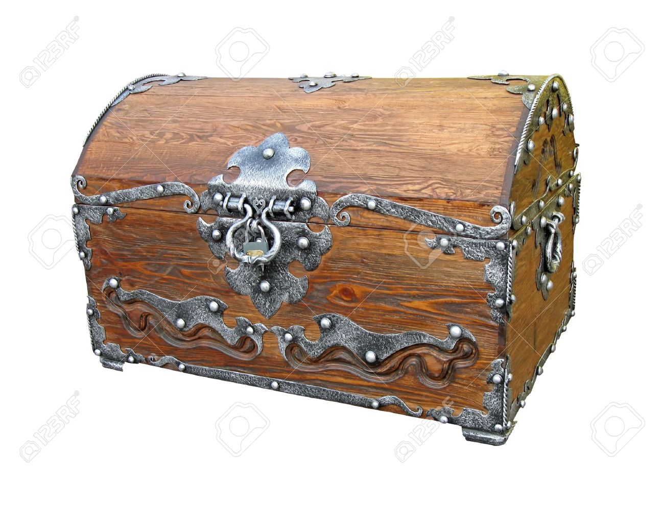 One Closed Piratical Vintage Wooden Chest With Rivet Metal Handle