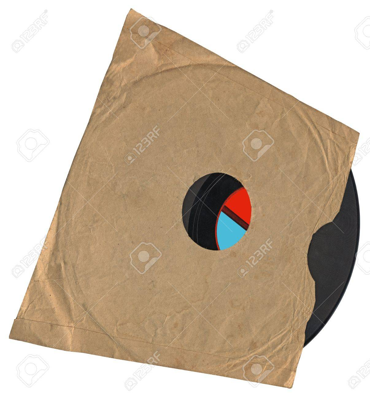 vintage envelope with packed single old retro vynil 78rpm audio record (object soundtrack frame) with scratches Stock Photo - 10060930