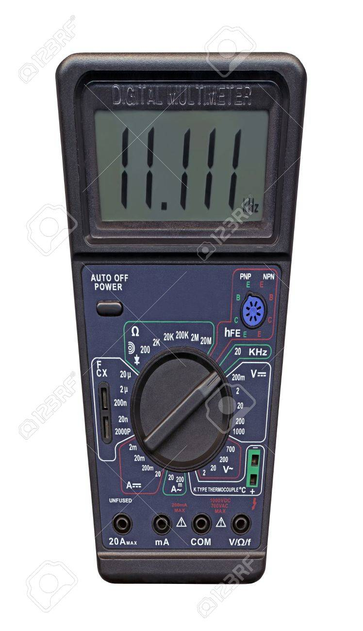 single new black color digital multimeter with switch for electronic test, calibration, measure of current  ampere , capacity  farad , resistance  ohm , electricity, polarity  Calibration equipment isolated on white background  Many numbers  digits  for l Stock Photo - 13760961