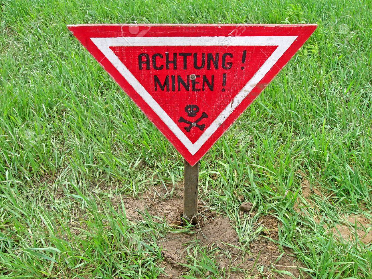 ahtung minen as text on german language, danger red sign warning Stock Photo - 13859417