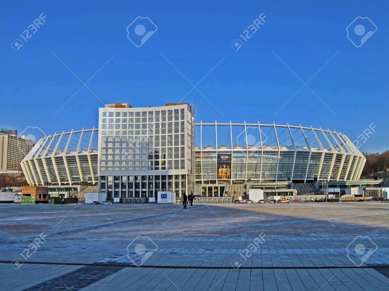KIEV, UKRAINE - MARCH 20: Renewed Olympic Sport Stadium on March 20, 2012 in Kiev, UKRAINE. National Sport complex Olimpiysky selected as stadium for final EURO 2012 football championship in Ukraine. Stock Photo - 14136582