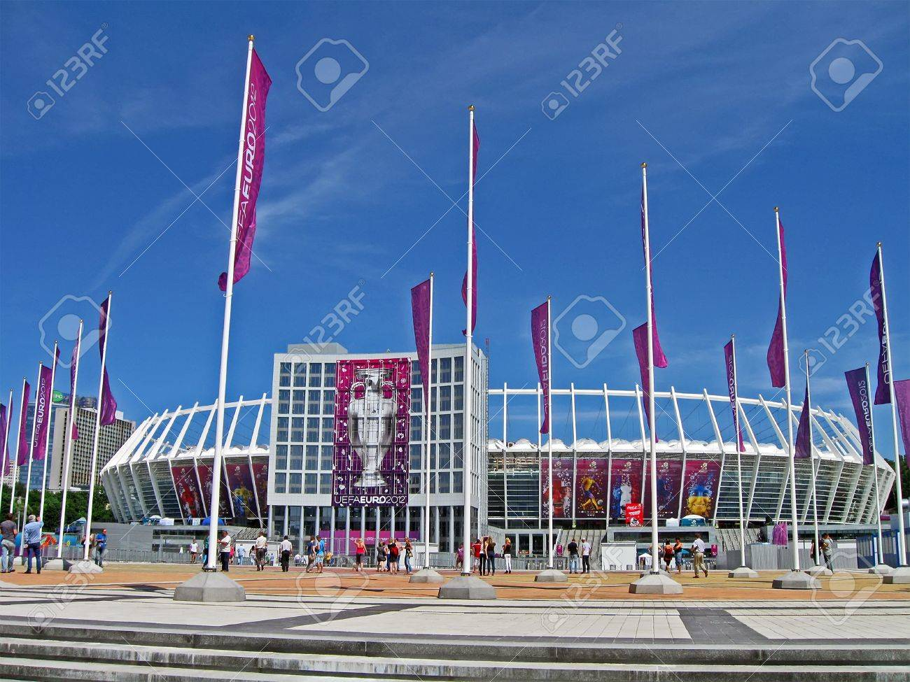 KIEV, UKRAINE - JUNE 11: Renewed Olympic Sport Stadium before match Ukraine-Sweden on June 11, 2012 in Kiev, UKRAINE. National Sport complex Olimpiysky selected as stadium for final EURO 2012 football championship in Ukraine.  Stock Photo - 14140982