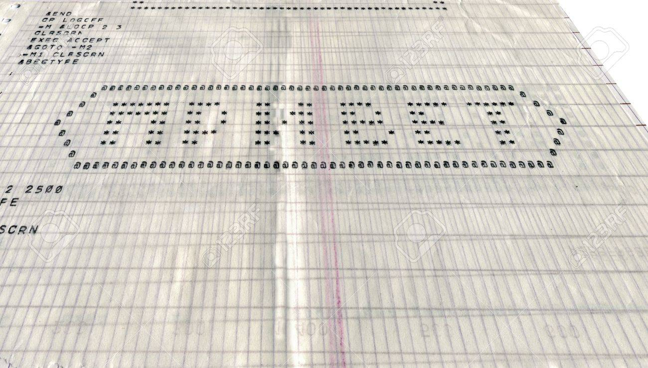 vintage program code on perforated paper, hello message on russian language Stock Photo - 17211211