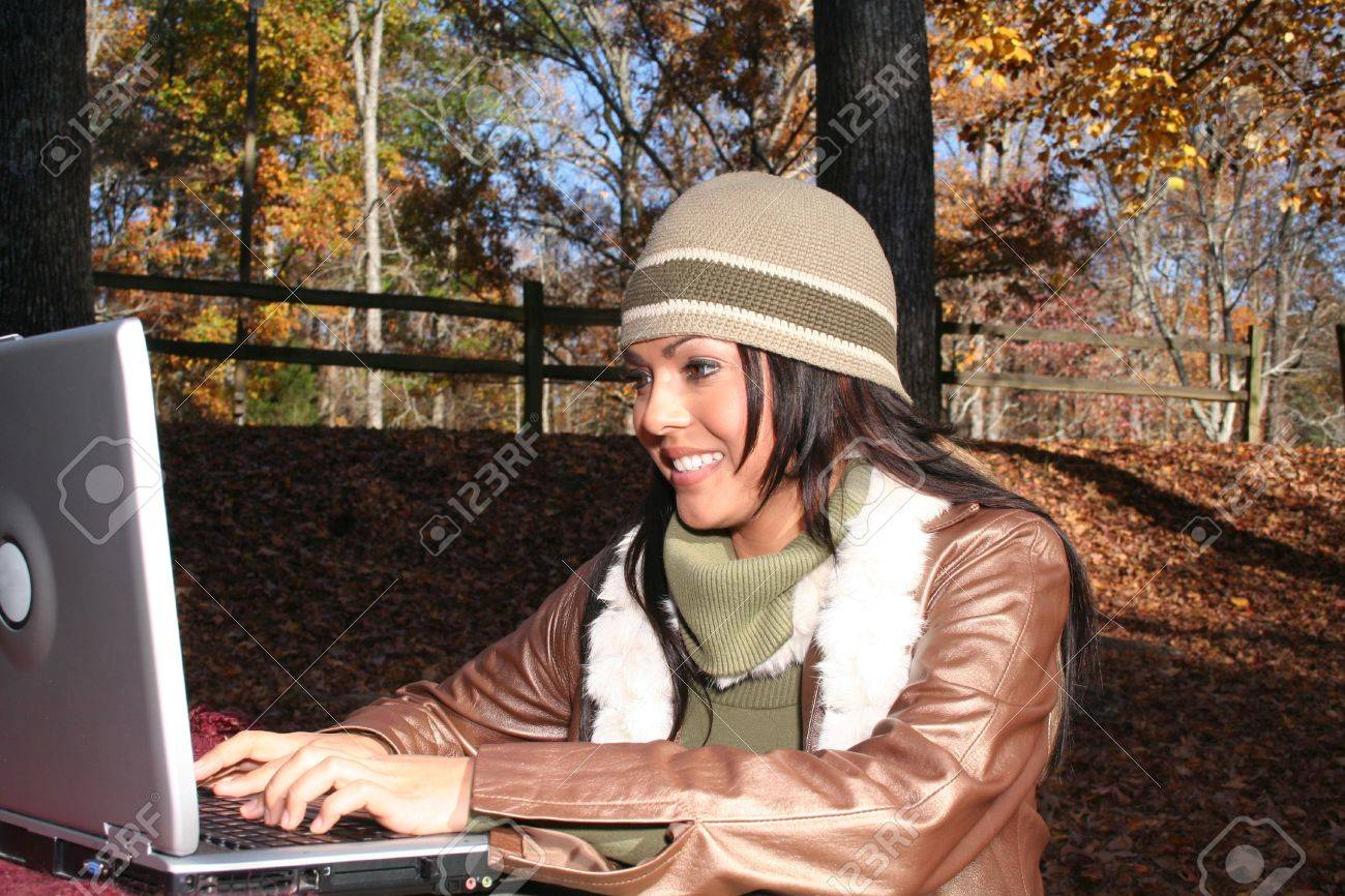Sexy Woman In Fall fashion Outdoors Stock Photo - 631605