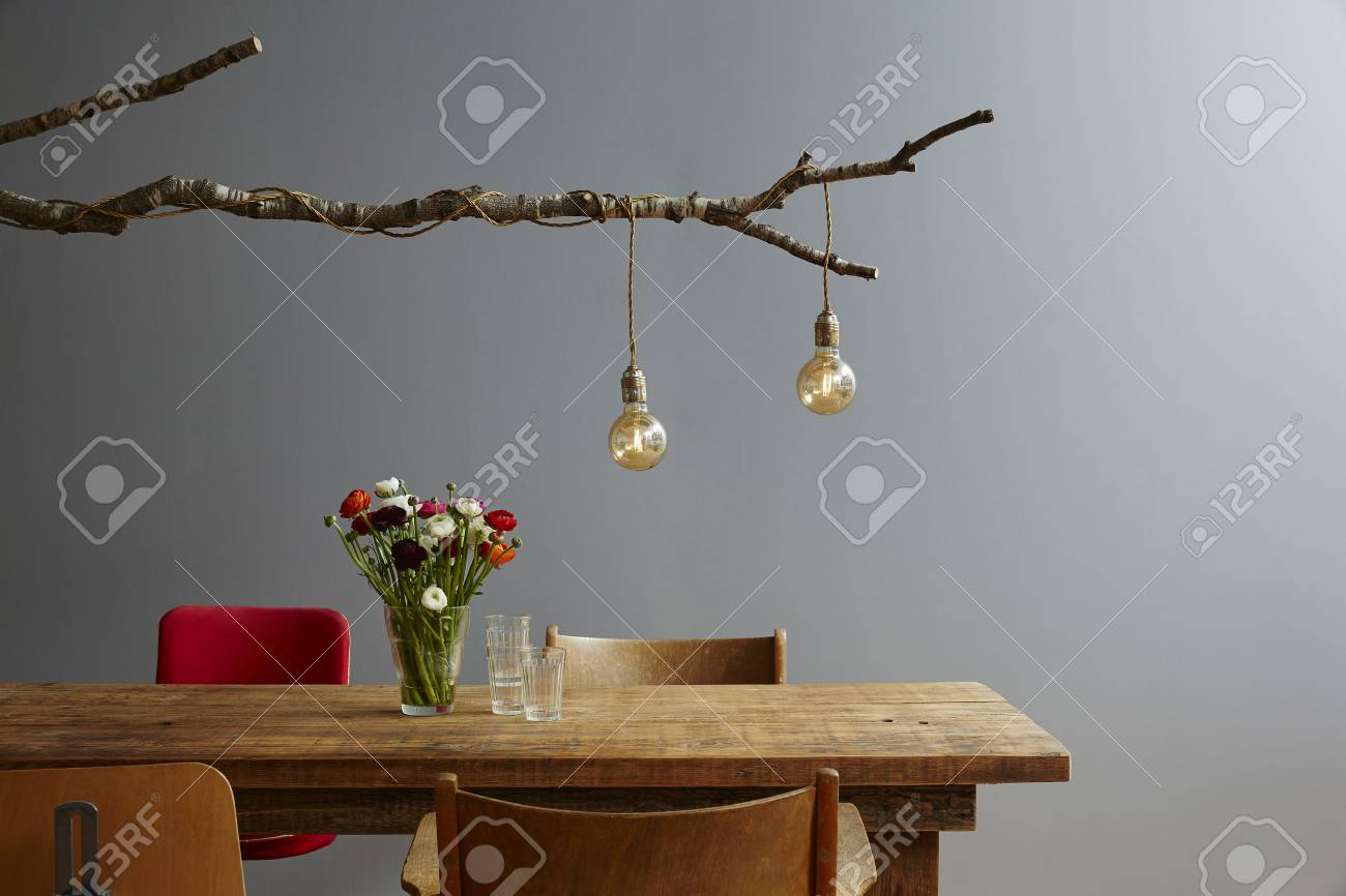Nicely Laid Wooden Table Branch Lamp Urban Organic Design Stock