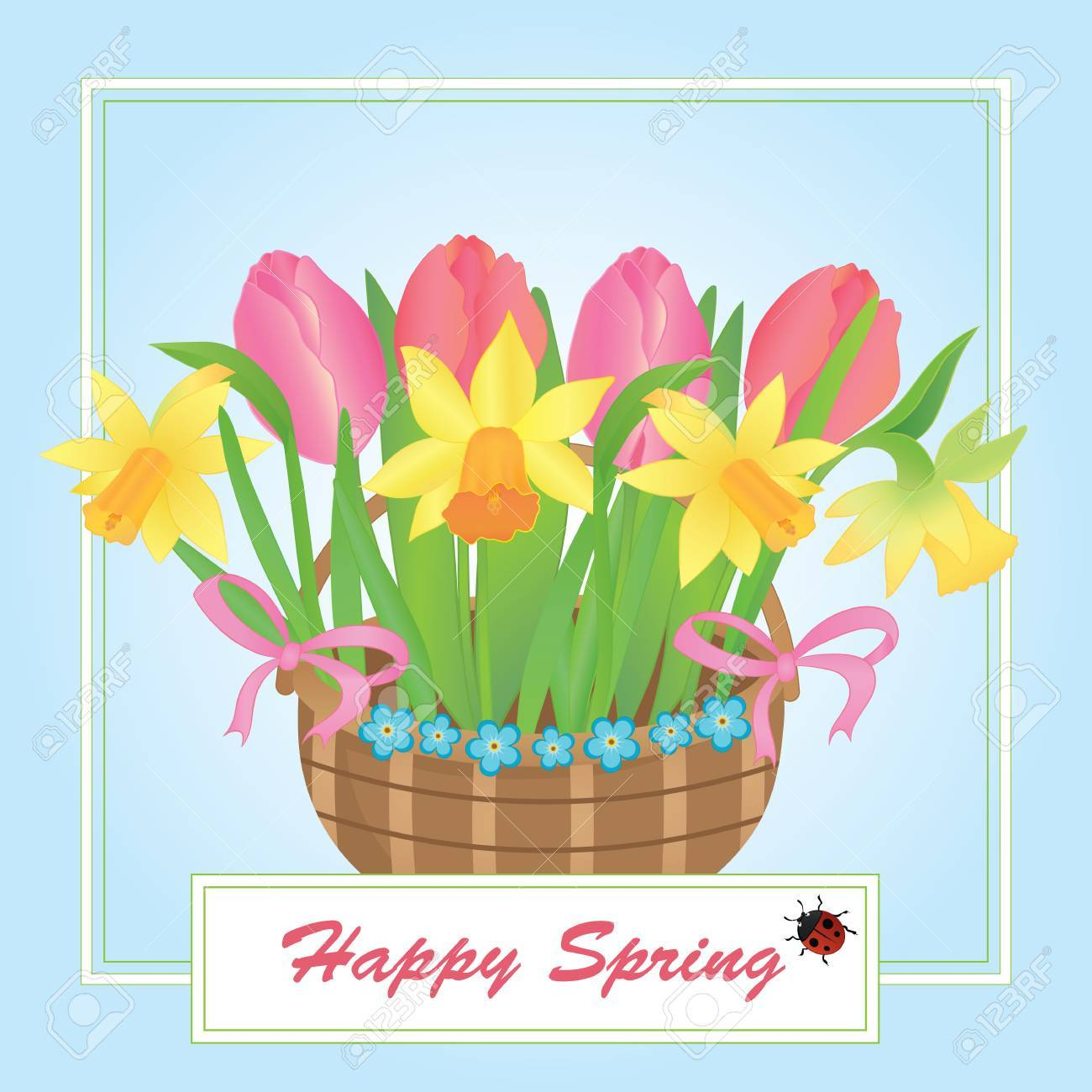 Illustration Of A Basket With Spring Flowers Royalty Free Cliparts
