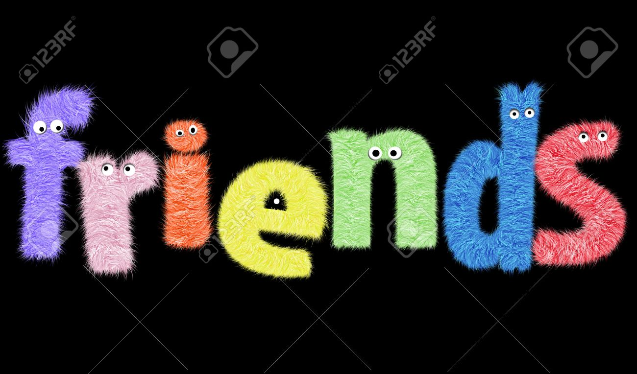 Funny Furry Characters In The Word Friends Stock Photo, Picture ...