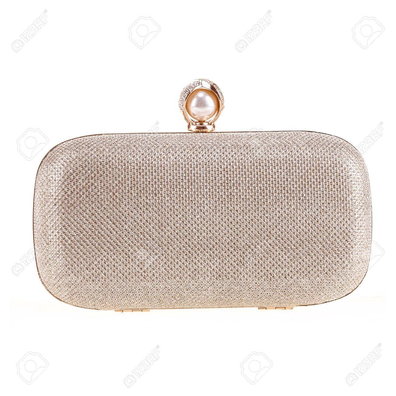 a6b16540 Golden Clutch Bag Isolated On White Background Stock Photo, Picture ...