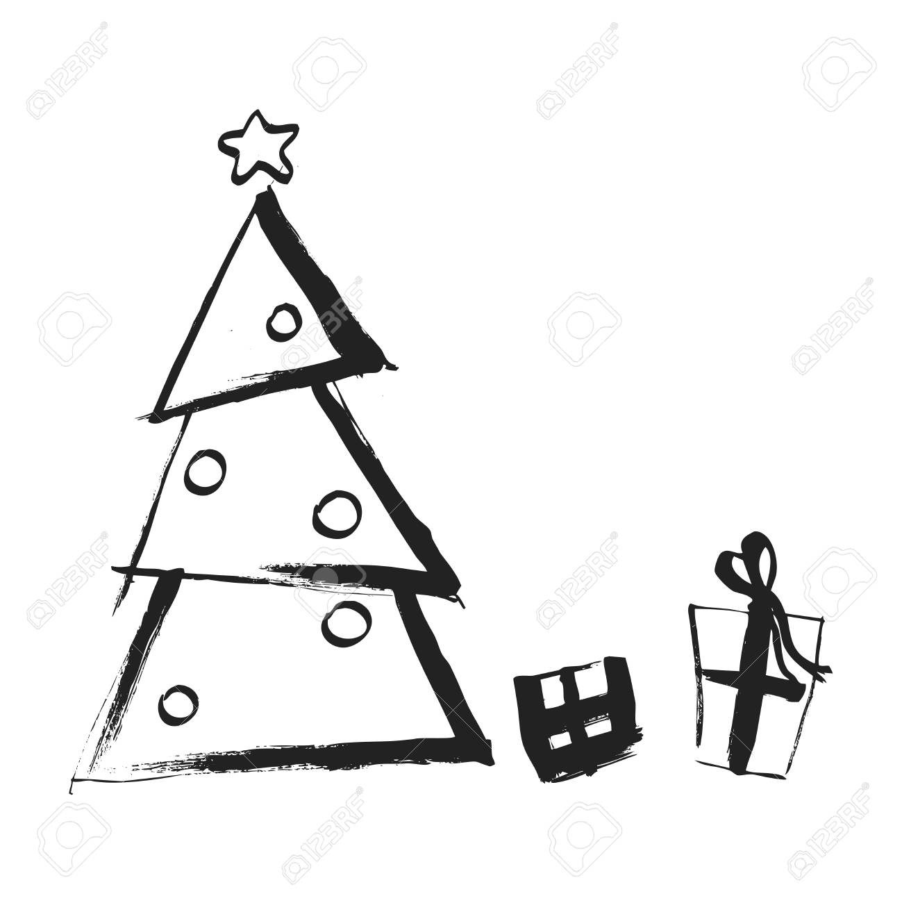 Black And White Christmas.Handdrawing Christmas Tree With Boxes Of Gifts Black And White