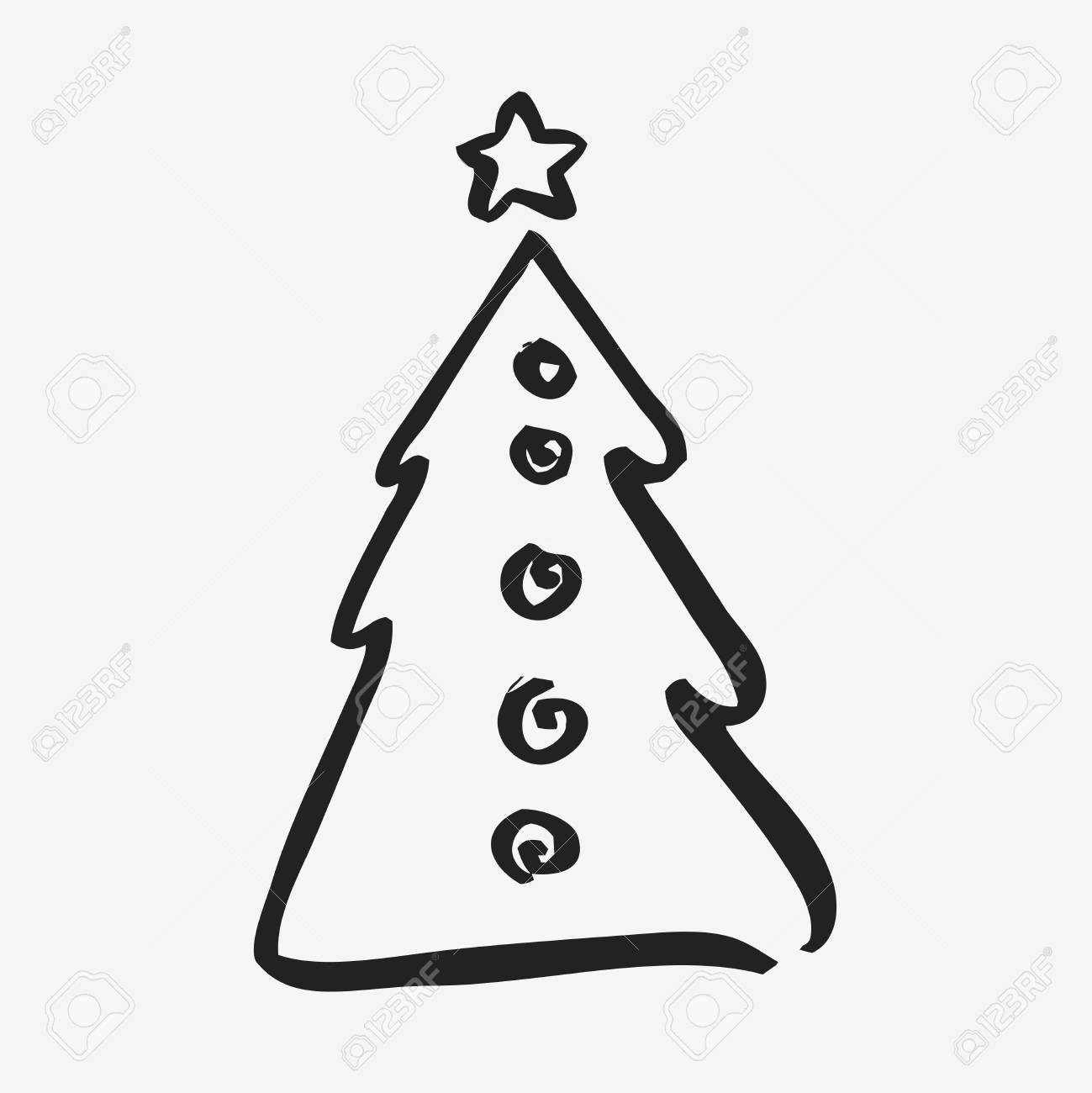 Black Symbol Of Fir Tree Isolated On White Background Christmas